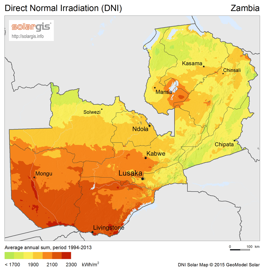Irradiation levels in Zambia needed for buying a solar power systems
